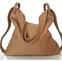 Las mujeres mochila bolso piel Marrón claro
