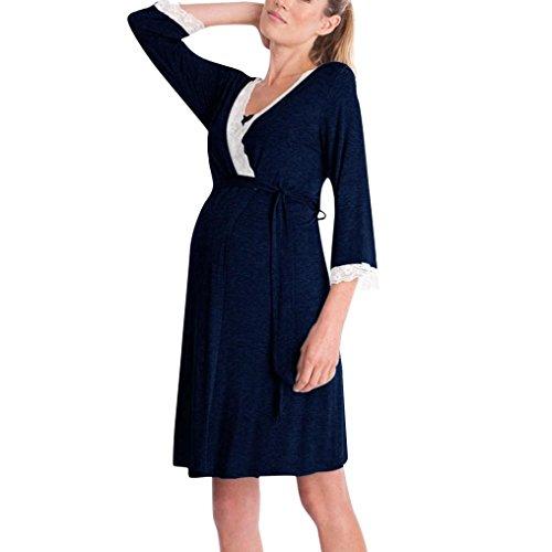 OHQ Robe d'allaitement Maternel à Manches Longues en Dentelle pour Femmes Enceintes Vin Noir Bleu Marine Womens MèRe Enceinte Allaitement BéBé La De Maternité Pyjamas Femme Vetement (Marine, XL)