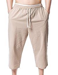 junkai Pantalones Cortos Capri 3 4 Baggy De Los Hombres Más Casuales del  Verano Pantalones 77a036a56c9f