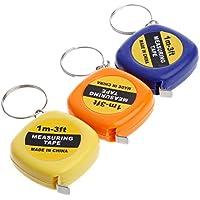 cuigu portative la regla plegable fácil de cinta métrica de regla Mini de tracción Keychain 1m/3ft, color aleatorio