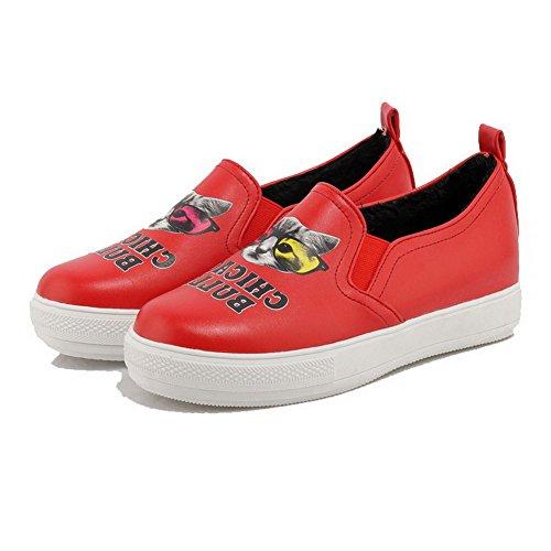 VogueZone009 Femme Tire à Talon Bas Pu Cuir Rond Chaussures Légeres Rouge