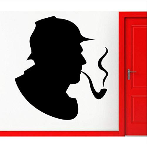 Dwqlx Sherlock Holmes Detective Wandaufkleber Hübsches Porträt Tabakspfeife Muster Wandtattoo Rauch Kinderzimmer Innendekoration42 * 66