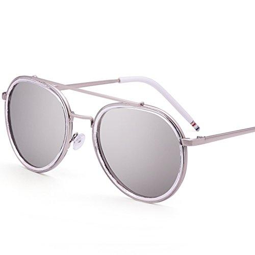YaNanHome Sonnenbrillen Brillen & Zubehör Sonnenbrille Frauen Neue Stil Bunte Reflektierende Sonnenbrille Koreanische Art Hipster gläser Frosch Spiegel (Color : Silver)