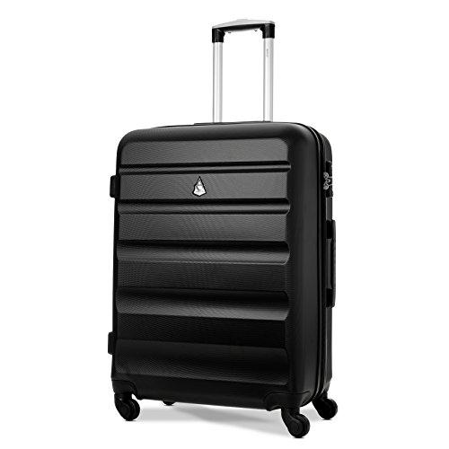"""Aerolite - Valigia da viaggio rigida ultraleggera e antiurto con 4 ruote e lucchetto TSA integrato - 25"""" NERO"""