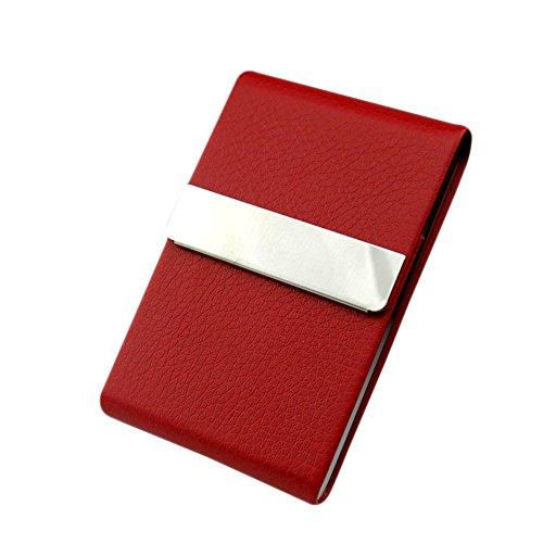 Chytaii - Porta carte credito/biglietti da Visita, porta sigarette / Portafoglio, tascabile, in acciaio inox e similpelle di PU 96*65*13mm rosso