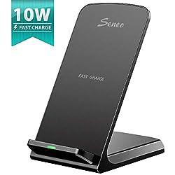 Seneo QI Chargeur sans Fil Rapide Wireless Quick Charge 2.0, Chargeur à Induction 10W pour Galaxy S10/S9/S8/Note8/S8/S8PLUS/S7/S6 Edge Plus, 7.5W pour iPhone XS/Max/XR/X/8