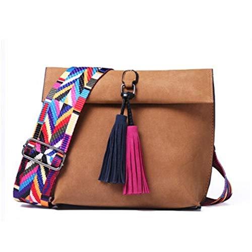 Marke Frauen Messenger Bag Umhängetasche Quaste Umhängetaschen Weibliche Designer-Handtaschen Frauentaschen Mit Buntem Gurt (Color : Brown, Size : Long21cm width20cm) - Marke Messenger