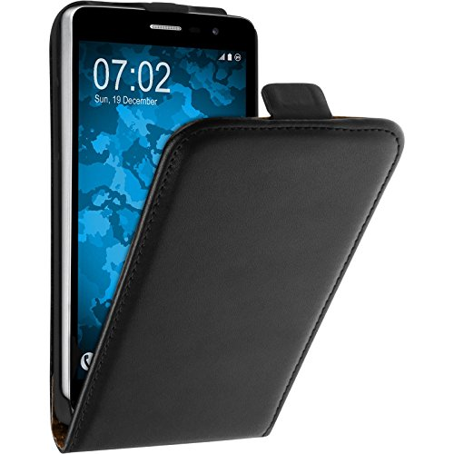PhoneNatic Kunst-Lederhülle für LG L Bello 2 / L Bello II Flip-Case schwarz + 2 Schutzfolien