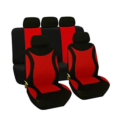 GODGETS Set Copri sedili per Auto Coprisedili Confortevoli Coprisedili Antipioggia Coprisedili Anteriori e Posteriori Universale per Auto,Nero Rosso,2 * Seater Anteriore + 3 * Seater Posterio