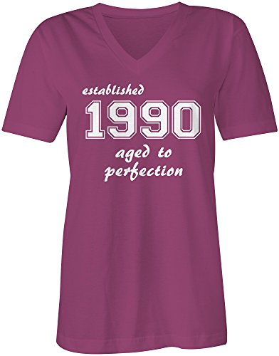 Established 1990 aged to perfection ★ V-Neck T-Shirt Frauen-Damen ★ hochwertig bedruckt mit lustigem Spruch ★ Die perfekte Geschenk-Idee (07) pink