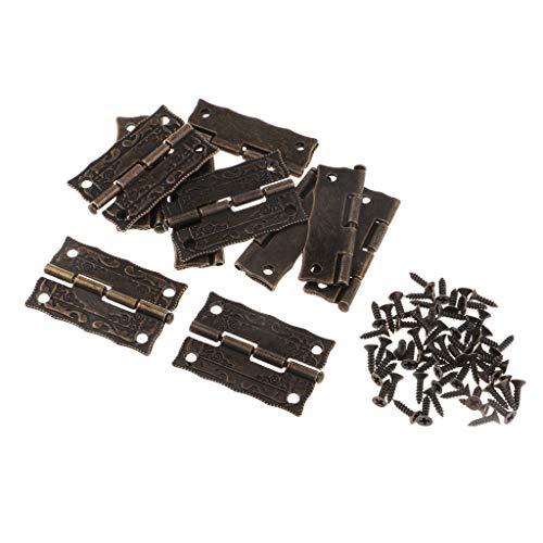 Baoblaze 10 Stücke Vintage Klapp Hinten Scharniere Edelstahl Wohnmöbel Hardware Schrank Scharniere mit 50 pcs Schrauben -
