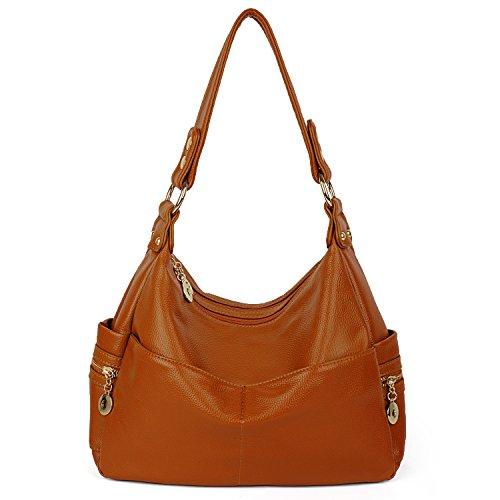 UTO Damen Handtasche PU Leder Purse Hobo Stil PU Schultertasche braun (Handtasche Hobo Clutch Leder Bag)