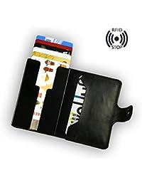 sciuU Cartera Tarjeta de Crédito/Portatarjetas de Visita, Bloqueo RFID, Ultra Delgado Cuero PU Multiuso Bolsillos Billetera, para Hombres y Mujeres