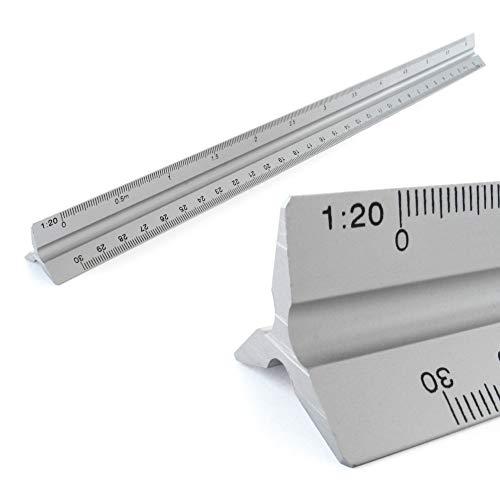 Reglas Aluminio Regla de la escala triangular escala Triangular 1, 20, 1, 25, 1, 50, 1, 75, 1, 100, 1, 125, 30 cm de largo escala Triangular