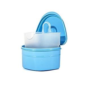 ULTNICE Zahnspangen Box Prothesendose für Aufbissschiene Knirscherschiene (Hellblau)