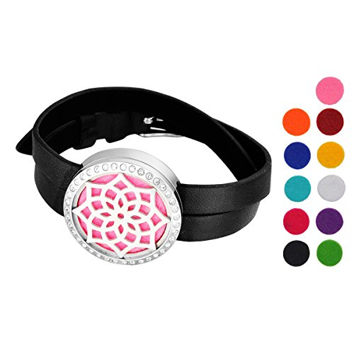 valyria-aromatherapy-oil-diffuser-bangle-pu-leather-double-watch-bands-crystal-lotus-silver-stainles