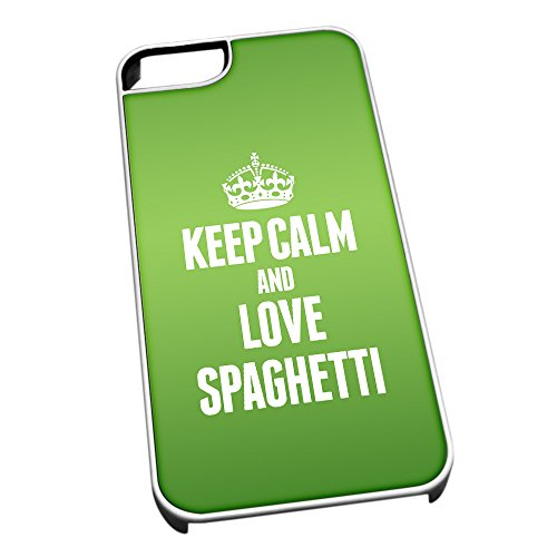 Duke Gifts Bianco Cover per iPhone 5/5S 1542 Verde Keep Calm And Love Spaghett