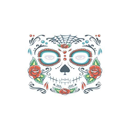 Goosuny 2 Stück Gesicht Stickers Halloween Tag Der Toten Gesichtsmaske Sugar Skull Tattoo Gruseliger Horror Beauty Aufkleber Party Dekor Aufkleber (C)