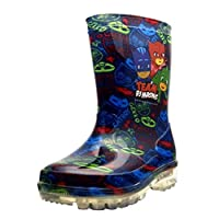 PJ MASKS Boys Wellies with Light Up Heels-Blue-6 UK Child