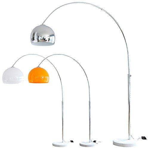 Steh-Lampe weiß mit Dimmer und Fuß aus Marmor 213x165 cm | höhenverstellbar mit verchromten Metall | Bogen-Lampe