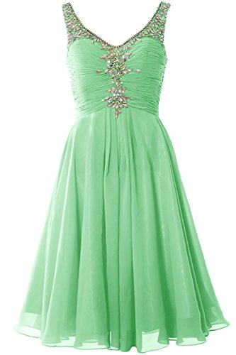 MACloth Women V Neck Crystal Short Homcoming Dress Cocktail Party Evening Gown Minze