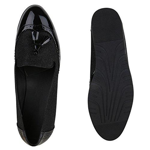 Damen Slipper Loafers Schleifen Glitzer Flats Profilsohle Schuhe Schwarz Lack Cabanas