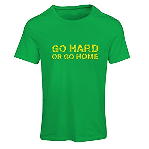 T shirts for women Go Hard or Go Home for Deadlifts, Squats, Bench Press and Weightlifting workouts (X-Large Green Multi Color)