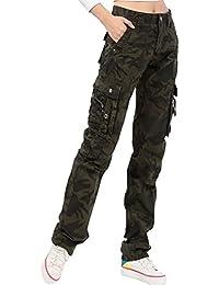 Ghope Femme Pantalon Treillis Cargo Léger en Coton Coupe Large et Loose Loisir militaire mit Multi-poches Taille W28-W38