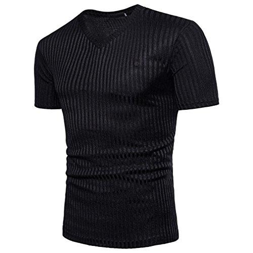 OSYARD Mode Männer Bluse,Kurzarm Tops Fit Pullover V-Ausschnitt Casual Herren T-Shirt, Sommer Modernes Sweatshirt Basic Vintage Slim Fit - Pailletten Seide Top
