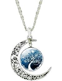 Jiayiqi Femmes Uniques Sculpter Fleur Crescent Lune Vie Arbre Verre Cabochon Pendentif Chaîne