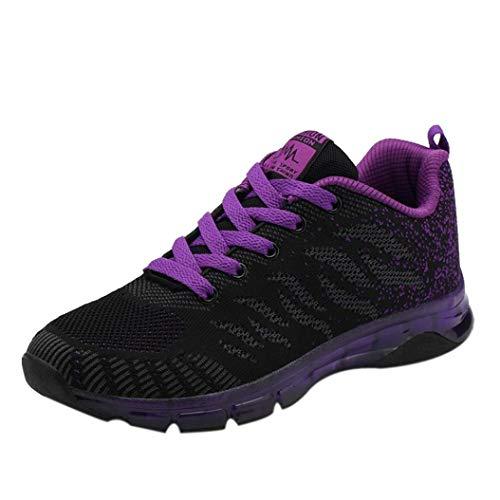 UFACE Damen Air Cushion Turnschuhe Net Laufschuhe Woven Schuhe Luftpolster Turnschuhe Student Net Laufschuhe(Violett,37 EU)
