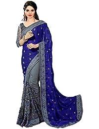 Krishna Fashion Women's Satin & Net Half N Half Embroidery Work Sari With Blouse Piece