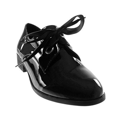 Schwarz Angkorly Blockabsatz Schuhe 5 Schnürsenkel Satin Patent cm 2 Derby Aus Schuh Damen UU6qf7