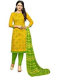 06d11e16c6c9d7 Rajnandini Women's Chanderi Cotton Embroidered Dress  Material(JOPLGF18013_Yellow_Free Size)
