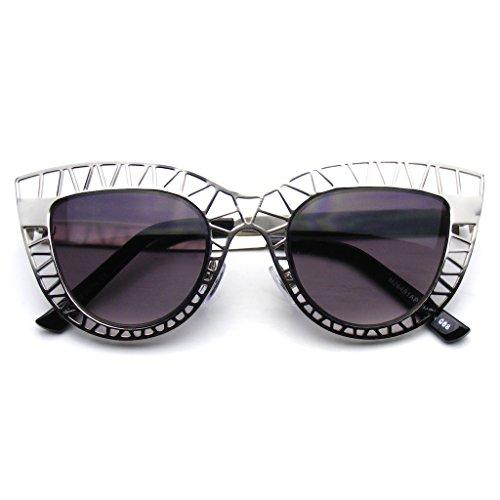 Emblem Eyewear - Womens Indie Moda Trendy Gatto Occhio Occhiali Da Sole Metallo Hollow Cut-Out (Argento)