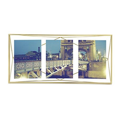 Umbra Prisma Bilderrahmen Collage 13 x 18 cm – Wand- und Tisch Multi-Fotorahmen für 3 Bilder, Fotos, Kunstdrucke, Illustrationen, Graphiken und Mehr, Metall / Glas, Mattgold (Bilderrahmen Dekorieren)