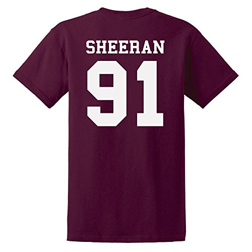 Ed Sheeran T-Shirt Ed Sheeran 91 T-Shirt Unisex Tshirt Cotton T-Shirt Ed Sheeran Tour Tshirt With Numbers (S Maroon) (Konzert-tour-t-shirt Das Neue)