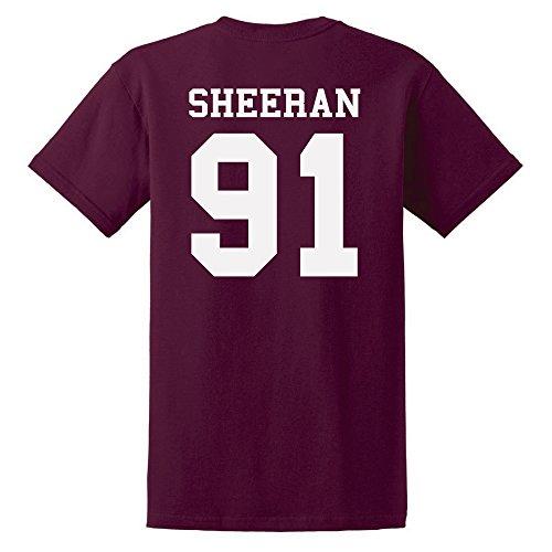 Ed Sheeran T-Shirt Ed Sheeran 91 T-Shirt Unisex Tshirt Cotton T-Shirt Ed Sheeran Tour Tshirt With Numbers (S Maroon) (Das Konzert-tour-t-shirt Neue)