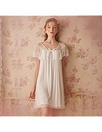 WXNLEAI Pijamas de corte retro Rosetree para mujer princesa de encaje camisón manga corta algodón modal