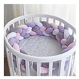 Baby Bettumrandung Kantenschutz Kopfschutz Weben Geflochtene Stoßfänger Dekoration für Krippe Kinderbett (A Lila + Rosa + Weiß + Grau)