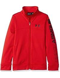 Under Armour Pennant Warm-Up, Chaqueta de deporte con cremallera para niño, color rojo, talla L (Talla fabricante: YLG)