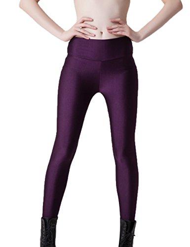 Junshan Femme Legging Femme Pantalon taille haute skinny fluorescent Candy couleur femme sport pantalons Loisirs Violet