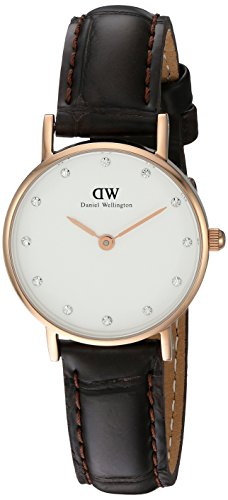 Daniel Wellington Classy York Women's Quartz Watch with White Dial Analogue Display and Brown Leather Strap 0902DW