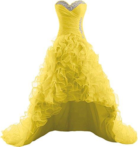 Gorgeous Bride Klassisch Herz-Ausschnitt Hi-Lo Organza Schleppe Abendkleider Cocktailkleid Ballkleider Gelb