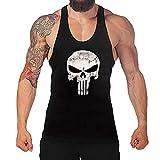 semen Herr Mann Tops Tank Tankshirt Vintage Skull Totenkopf T-Shirt Weste Muscleshirt Print