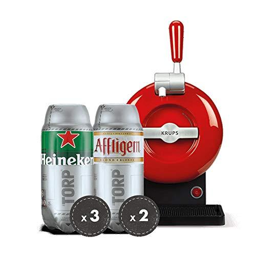 Pack Heineken THE SUB Consumo Preferente 31/01/2019   Tirador de cerveza de barril THE SUB Rouge Edition + 3 TORP Heineken + 2 TORP Affligem Blonde Barril de Cerveza de 2 Litros