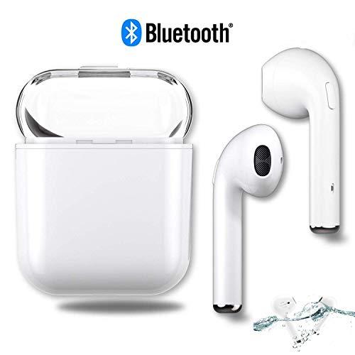 Bluetooth Kopfhörer Kabellose Sport Ohrhörer Wasserdicht Wireless Headset in Ear Stereo Earbuds für iPhone X/XR/X / 8/7/6 / 6s Plus und Huawei Samsung Galaxy S7 S8 S9 Plus-Weiß