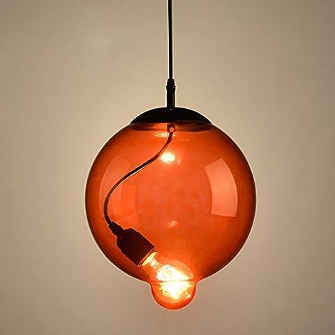 Artes creativas minimalista personalidad salón dormitorio den balcón barra de la ventana de cristal rojo industria de lámpara de la bola de la lámpara