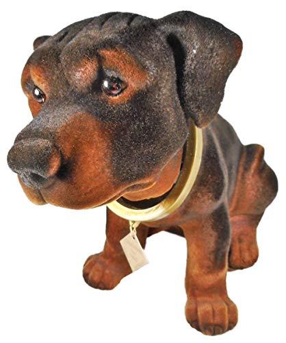 Wackelkopf Hund Rottweiler 28 x 13 x 18 cm, 415 Gramm Hund Gartenzwerg Wackeltier PVC Deko GRS 0092a -