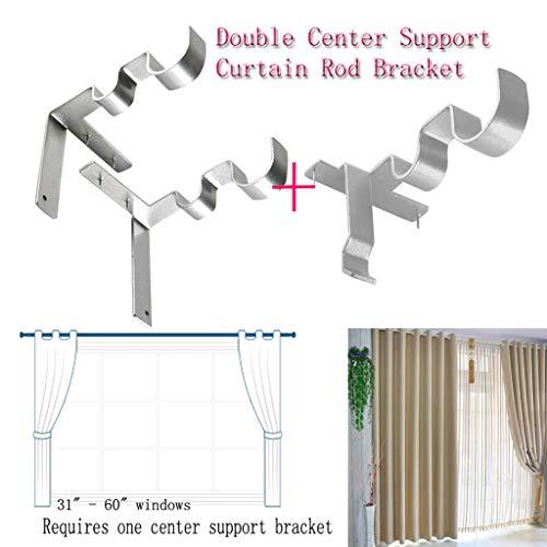 TAOtTAO Silber Gardinenstange Halterung Hang Curtain Rod Holders Rechts in den Fensterrahmen Curtain Rod Bracket (2, Halterung + Stützrahmen)